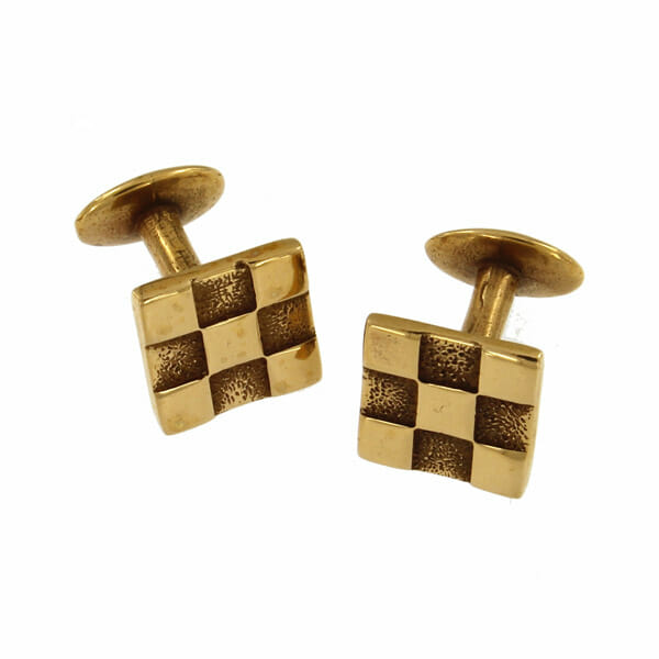 Solid, contemporary chequered design cufflinks with a matt and polished finish.