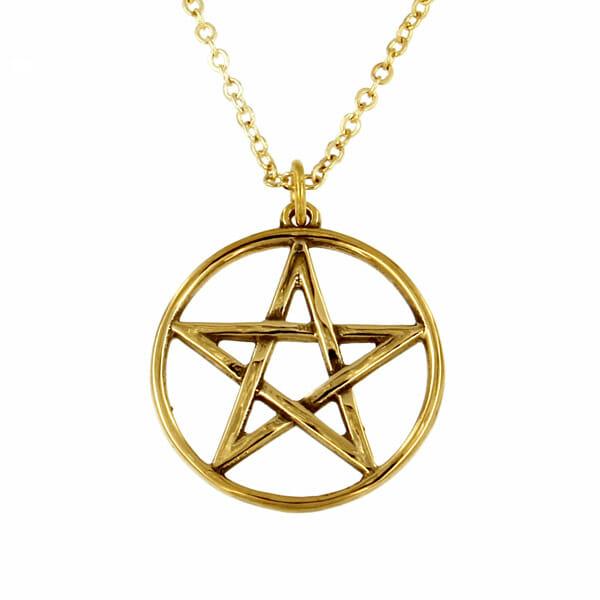 bronze pentagram circle pendant