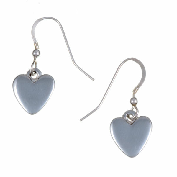 Small tin heart drop earrings