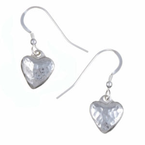 Small planished heart drop earrings 1