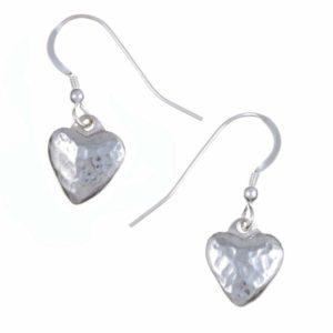 Small planished heart drop earrings 1