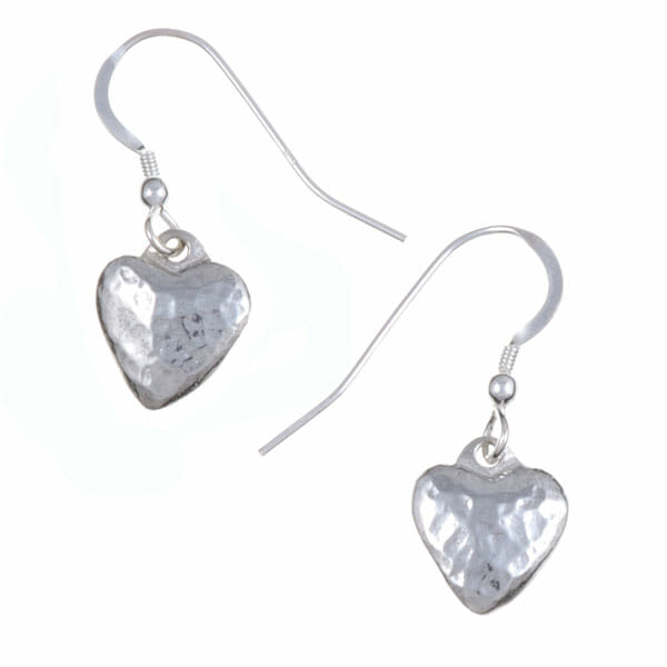 Small planished heart drop earrings