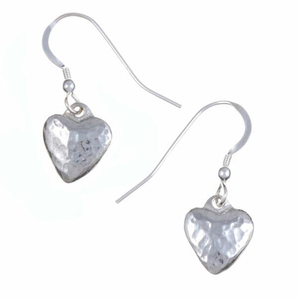 Small planished heart drop earrings