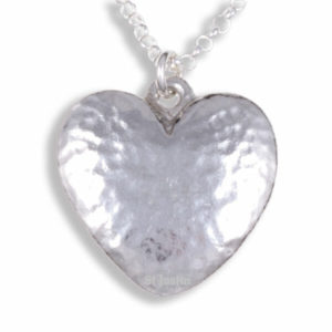 Beaten heart pendant on belcher chain