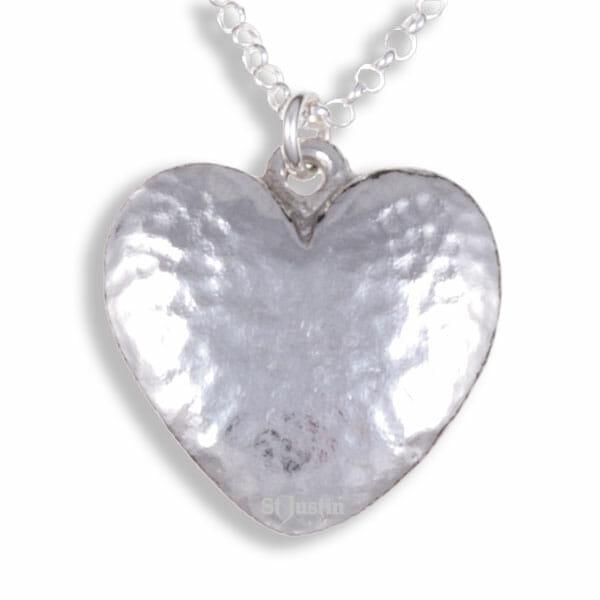 Beaten heart pendant on belcher chain
