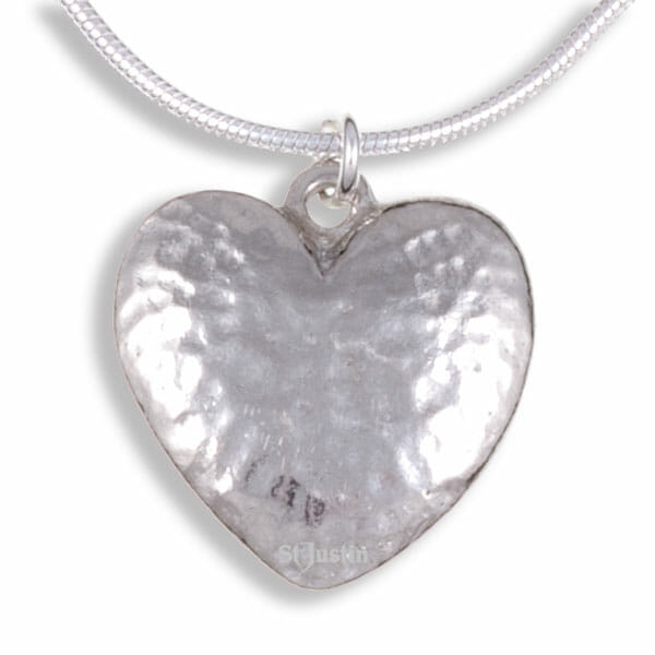 Beaten heart pendant on snake chain