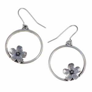 Hoop flower drop earrings 1