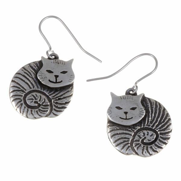 Fat cat drop earrings