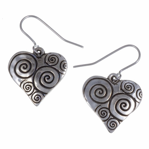 Swirls & twirls heart drop earrings