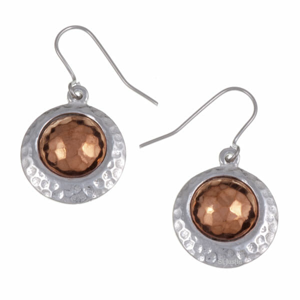 Copper offset disc drop earrings