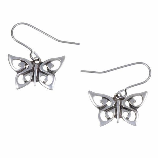 Spiral butterfly drop earrings