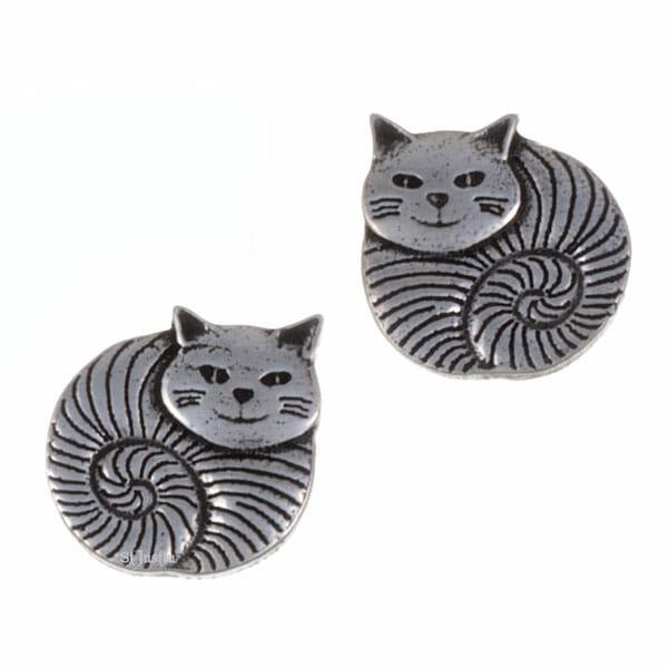 Fat cat stud earrings