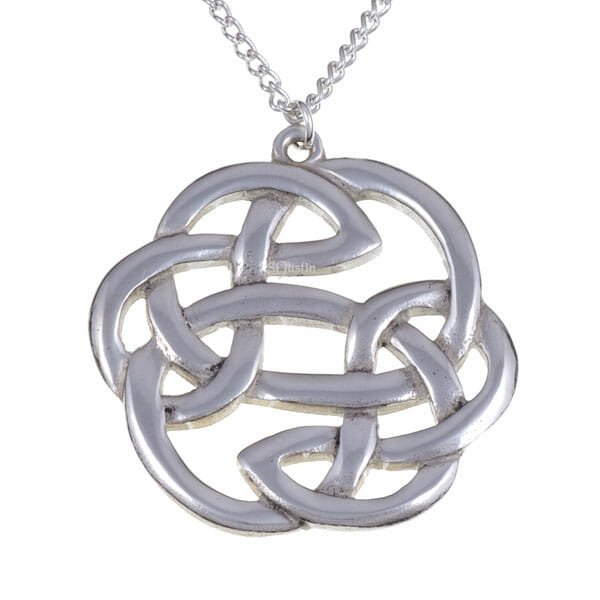 Lugh's knot pendant (large) on curb chain