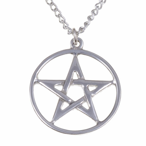 Pentagram circle pendant (small) – pewter