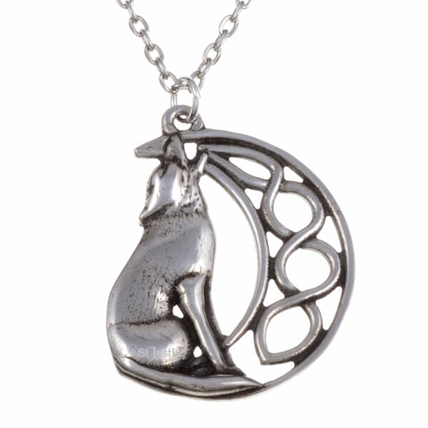 howling wolf and moon pendant st justin