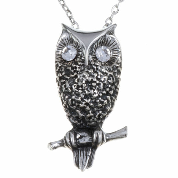 Owl pendant with clear crystal eyes