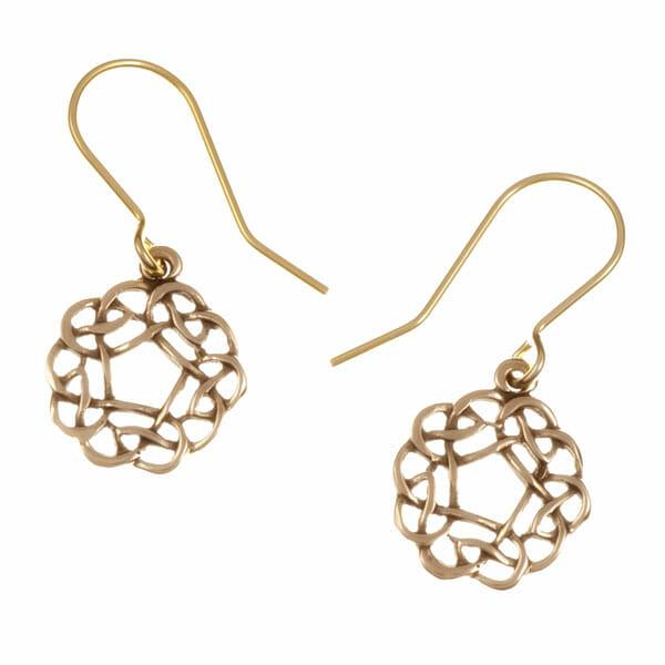 Pentagon knot drop earrings