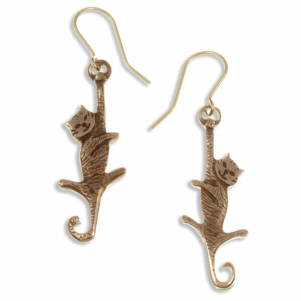 Dangling cat drop earrings