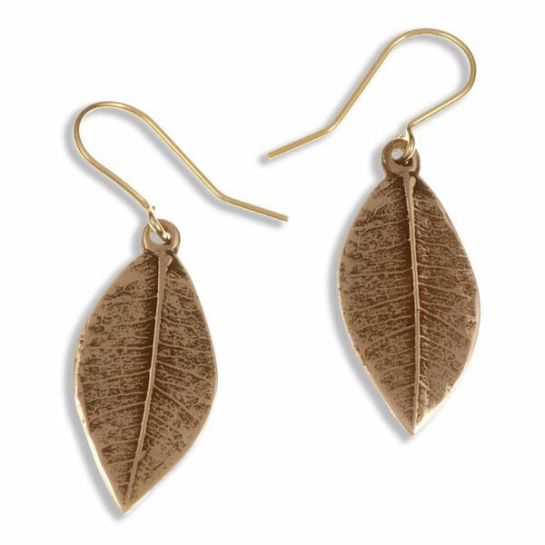 Pointed leaf drop earrings