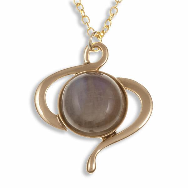 Moonstone swirl pendant – bronze