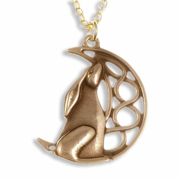 Moon gazing hare pendant
