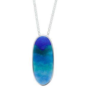 Sterling silver Ocean enamelled pendant