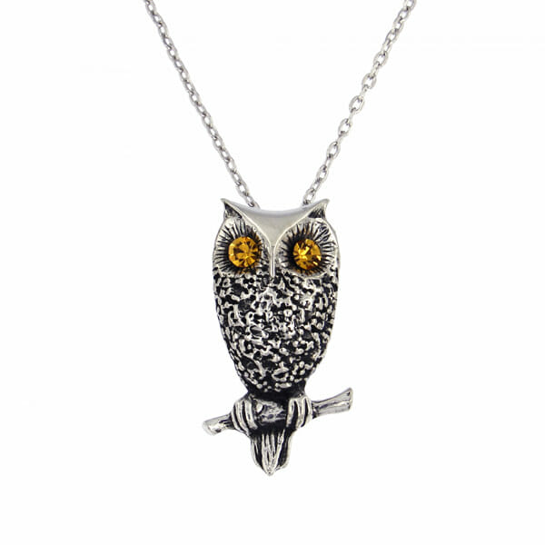 owl pendant with crystal eyes