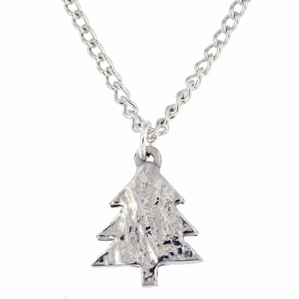 Small Silver Christmas Tree.Small Christmas Tree Pendant