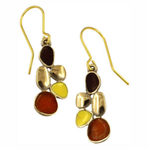 Bronze Pebbles enamel drop earrings