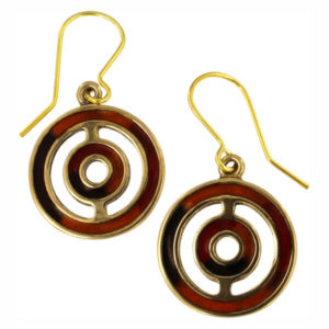 Bronze orbit enamelled drop earrings