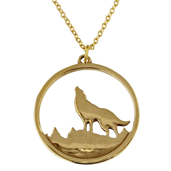 Bronze howling wolf pendant on gold plated chain st justin bronze howling wolf pendant aloadofball Gallery