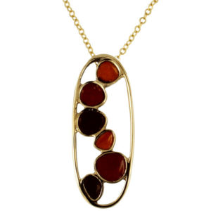 Bronze pebbles enamelled pendant red orange