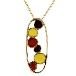 Bronze pebbles enamelled pendant orange yellow