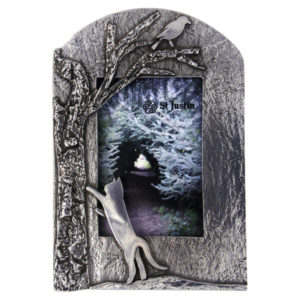 Pewter Woodland cat picture frame
