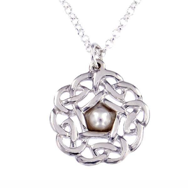 "Silver Pentagon knot small pendant with pearl - 18"" belcher chain - St Justin"