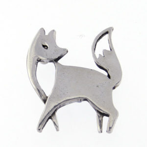 St Justin - Polished pewter fox brooch. Secures to garment by way of a pin with locking safety catch.