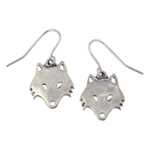 St Justin - Arctic wolf drop earrings - Polished pewter arctic wolf drop earrings on surgical steel hooks.