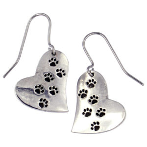 St Justin - Paw print heart drop earrings on surgical steel hooks.