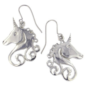 St Justin - Unicorn swirl drop earrings on surgical steel hooks.