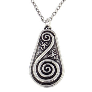 "St Justin - Double spiral shield pendant - small - 18"" belcher chain A pewter pendant with an embossed spiral detail on silver-plated belcher chain."