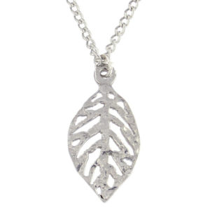 "St Justin - Cut out leaf pendant - small - 18"" trace chain. Beautifully highly polished pewter openwork leaf pendant on an 18"" rhodium-plated trace chain."