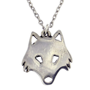 "St Justin - Arctic wolf pendant - a highly polished pewter artic wolf pendant on 18"" rhodium-plated trace chain."