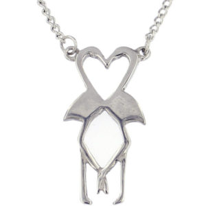"St Justin - Flamingo heart necklace - on a 17"" tin-plated or surgical steel curb chain."