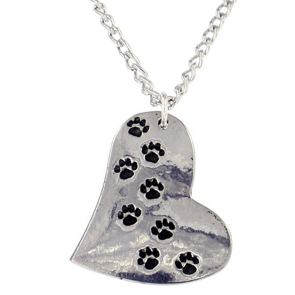 st Justin Paw print heart pendant - 18 curb chain
