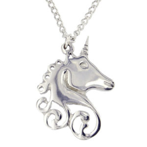"St Justin - Unicorn swirl pendant - this beautiful pewter Unicorn pendant is sure to delight all lovers of this mythical creature. Hangs on an 18"" tin-plated or surgical steel curb chain."