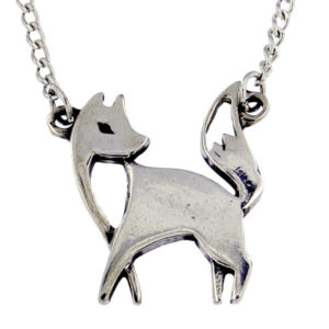 "St Justin _ Lowran fox necklace - a stylish fox pewter necklace. Hangs on a 16.5"" tin-plated or surgical steel curb chain."