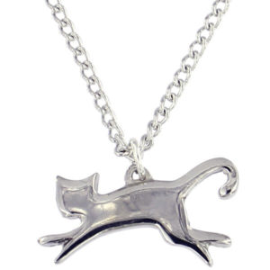 "St Justin - Leaping cat pendant on an 18"" tin-plated or surgical steel curb chain."