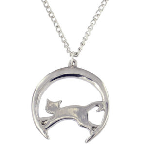 "St Justin - Leaping cat moon pendant - a lovely little pewter pendant. Hangs on an 18"" tin-plated or surgical steel curb chain."