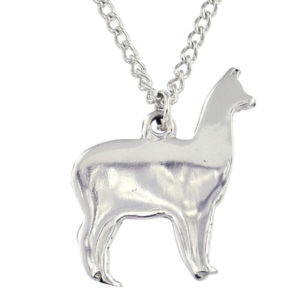 "St Justin - Llama pendant - a delightful pewter pendant on an 18"" tin-plated or surgical steel curb chain."