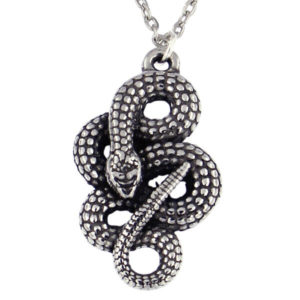 "St Justin - Coiled snake pendant - small - A pewter pendant on an 18"" rhodium-plated trace chain."